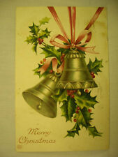 VINTAGE EMBOSSED CHRISTMAS POSTCARD CHURCH BELLS AND HOLLY 1909