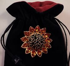 Signed Swan Swarovski Large Sunflower Black & Citrine Crystals Brooch Pin