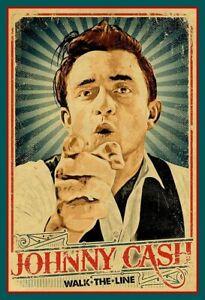 "RARE 4.75"" Johnny Cash Walk the Line vinyl sticker. Classic country music decal"