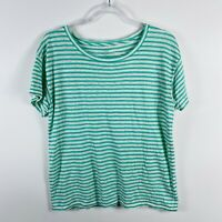 J Crew Size Medium Green White Relaxed Striped Linen T Shirt Top Short Sleeve