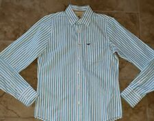 Hollister Mens Long Sleeve Button Down Turquoise/White Striped Dress Shirt M