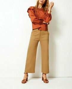 Marks and Spencer UK 10 Evie Straight Beige Tan Tapered Chino Trousers 38