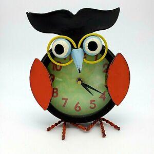 Metal Owl Standing Analog desk shelf Clock multicolor battery operated quartz