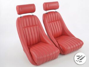 Full Bucket Retro Classic Car Seats Red synthetic leather + headrests + rails