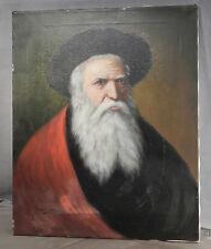 Vintage Pelham Oil Painting Portrait Beard Man Fur hat Russian Rabbi Deep Eyes