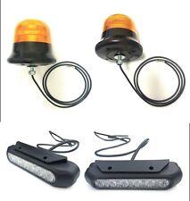 2x LED Warnleuchte Rund Ø145 3 Blitzmuster + 2x LED Frontblitzer 6 Blitzmuster