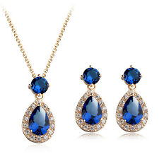 18K ROSE GP GENUINE SAPPHIRE BLUE CZ & AUSTRIAN CRYSTAL NECKLACE & EARRING SET
