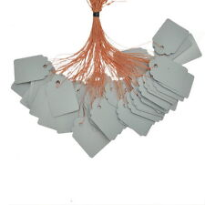 100 Grau PVC Plastik Preisschild Preis Etiketten mit Faden 36mm x25mm
