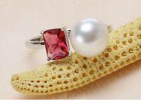 Damen Ring 925 Sterling Silber Süßwasser Perle AAA Rhodiniert Silberschmuck