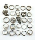 Solid Sterling Silver 25 Ring Lot 156 Grams Wearable Not Scrap Tested Hallmarked