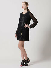 ANTIK BATIK BLACK SILK LEATHER PAILLETTES TINO DJEBELLAH DRESS XS