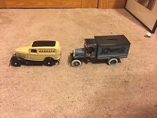 TWO ERTL JCPENNY DIECAST LOCKABLE BANKS, KENWORTH TRUCK AND FORD DELIVERY VAN