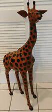 "Vintage Upholstered Leather Giraffe Figurine 41"" Tall"
