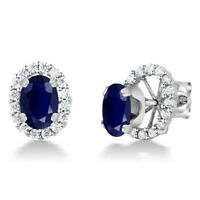 2.04 Ct Oval 7x5mm Blue Sapphire 925 Sterling Silver Stud Earrings