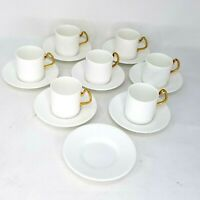 Coalport espresso coffee tea set 7 cups 8 saucers white gold Bone China England