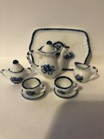 Miniature 10 piece blue and white floral tea set with serving tray With Box