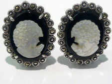 STERLING BLACK ONYX & CARVED M.O.P MARCASITES CLIP EARRINGS 13.9G I-5674