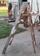 5 ft. Wood Ladder Step Stool Folding Rustic Antique Decor Pot Rack Barn Quilt