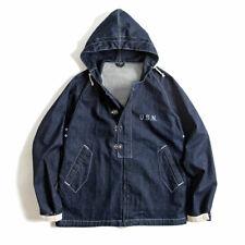 Men's U.S.N Vintage Navy Tannin Deck Suit Hooded Sweatshirt Loose Work Jacket