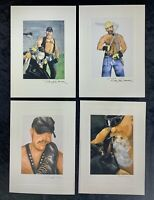 Lot Of (4) Vintage Ray W. Conser Art  Greeting Cards Gay interest-NOS