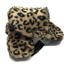 Vionic Gemma Lux Women 11 42 Leopard Plush Orthaheel Mule Slipper House Shoes