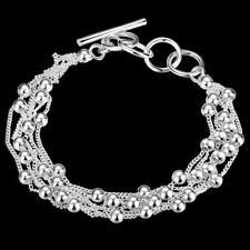Armband Damen Sterlingsilber pl. 925 Perlen Kugeln Silberarmband b13b