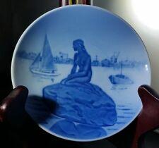"Vtg 1938 Royal Copenhagen Plate Mini Langelinie Blue 4 1/2"" Nude Ocean Sailboat"