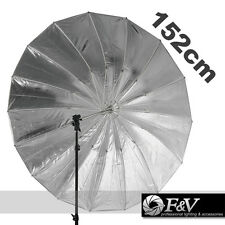 "F&V 60"" Studio Lighting Black Silver Umbrella 152cm with 11mm Shaft Mega Brolly"