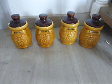 lot 4 pots a epices ceramique porcelaine jaune decor fleur cuisine vintage