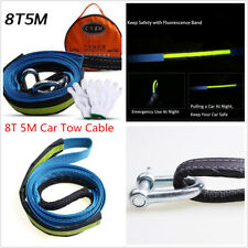 5M 8 Tons Car SUV Tow Cable Emergency Towing Rope Strap with Hooks Warning Glow