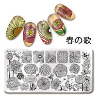 Nail Art Stamping Plate Line Flower Theme  Stamp Template Harunouta L034