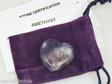AMETHYST Gemstone PUFFY HEART with pouch POWER Love STONE 30mm 1130-K