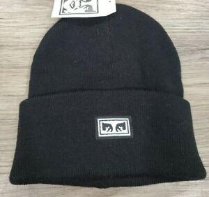 Obey Hat Icon Eyes Beanie Black Knit Winter