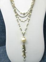 Vintage Necklace Classy Multi Strand Faux Cream & White Pearls Rhinestone