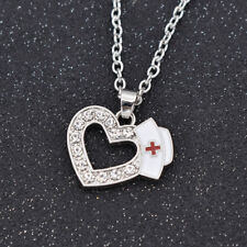 Crystal Heart Shape With Enamel Nurse Cap Red Cross Pendant Necklace Party Decor