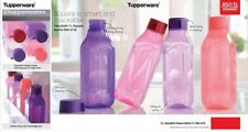 Set Of 4 Tupperware Aquasafe Square Water Bottle- 1 Ltr -1000ml New Free ship