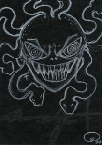 ORIGINAL WarrenS Art Card ACEO ATC Crazy Eye Medusa Smile Cartoon Sketch Artwork