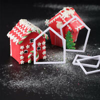 4X Gingerbread House Mold Cookie Cutter Chocolate Baking Mould Christmas Gif NT