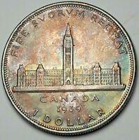 1939 CANADA SILVER DOLLAR GEM UNC MONSTER COLOR BU STUNNING TONED (DR)
