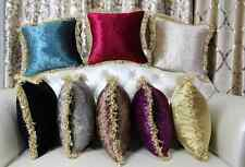 Vintage Velvet Short Plush Throw Pillow Case Solid Color Tassel Cushion Cover
