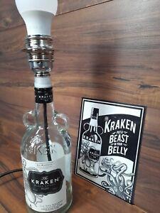 KRAKEN Rum Bottle Handmade Table lamp c/w plug and on/off Rocker switch