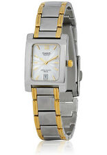 Casio Ladies BEL100SG-7A Two Tone Stainless Steel Analog White Dial Watch