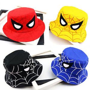 Kids Boys Spiderman Fisherman Hats Bucket Hat Beach Sun Hat Hip Hop Foldable Cap