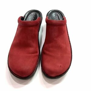 ECCO Red Suede Leather Slip On Clogs/Mules-Woman's Size 41/10-10.5 US