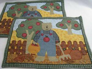 2 Fabric Fall Apple Pumpkin Harvest Bear Farmer Placemats Country Farm Appliqued