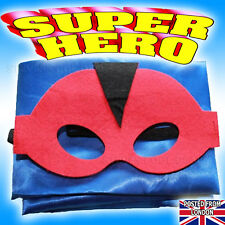 Super Hero Kids Cape Mask Set Birthday Xmas Halloween Party Fancy Dress Costume