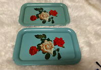 """2 Vintage Metal Tray White with Red  And White Flowers & Leaves 14"""" X 9"""""""