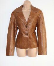Women's Vintage SKIRA NEW YORK Fitted 100% Leather Blazer Jacket Coat Size UK12