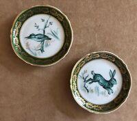 "Limoges Bird & Rabbit Goumot Labesse France 3 1/2"" dish vintage green gold plate"