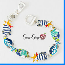 Magnetic Stylish Ocean Sea Life Fish StarFish Star Link Chain Charm Bracelet